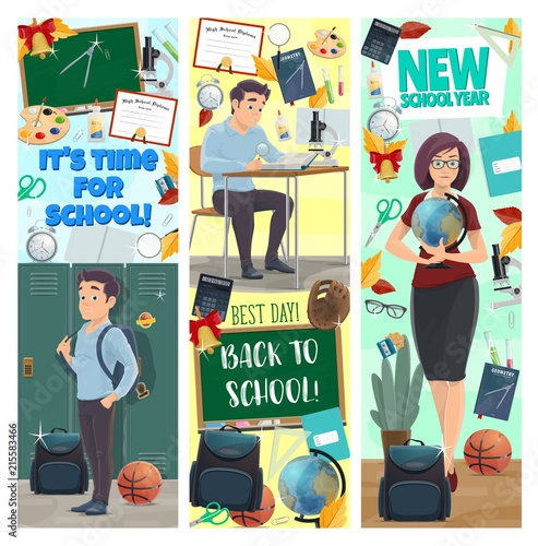 New School Year banners with studen and teacher
