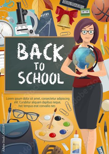 Teacher with student school supplies poster