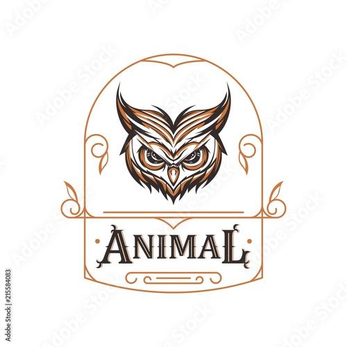 Fotobehang Uilen cartoon owl animal ornament tattoo design for tshirt apparel