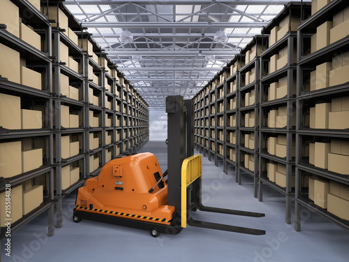 Fototapeta automatic forklift in warehouse