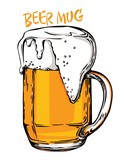 Color vector image of a beer mug. Drink with a lot of foam. Draught beer - 215588619
