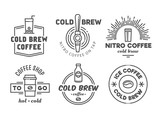 Fototapety Cold brew coffee and nitro coffee badges. Vector line art logos for cafe of coffee shop.