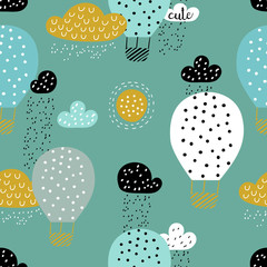 Childish seamless pattern with hot air ballon in the sky. Good for fabric, textile, wrapping. Cute cartoon background. Scandinavian style.