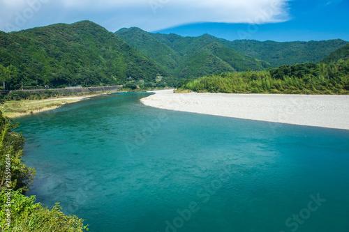 Foto Spatwand Groen blauw 仁淀川