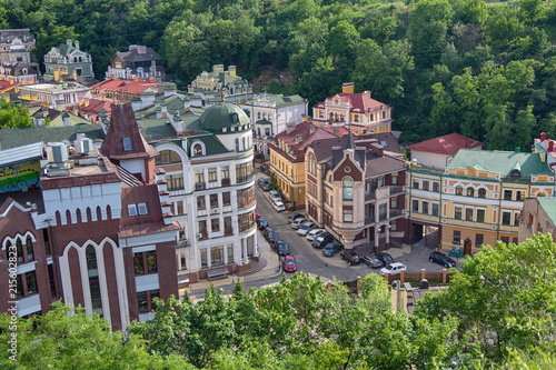 Canvas Kiev Colorful houses in a classic style from above. Architecture
