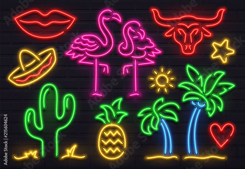Retro fashion neon sign. Glowing fluorescent cactus, pink flamingo and bull signs. Bright palm, sombrero and pineapple vector set