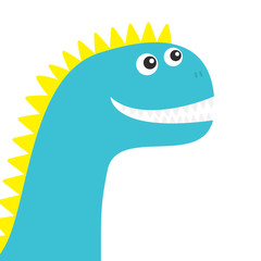 Dinosaur face. Cute cartoon funny dino baby character. Flat design. Blue and yellow color. White background. Isolated