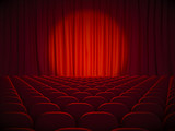 Cinema seats and red curtains - 215614801