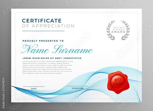 stylish blue certificate of appreciation template buy photos ap