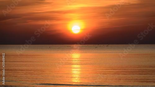 Canvas Oranje eclat Beatiful sunset in the baltic sea