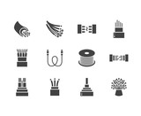 Optical fiber flat glyph icons. Network connection, computer wire, cable bobbin, data transfer. Signs for electronics store, internet services. Solid silhouette pixel perfect 64x64. - 215624007