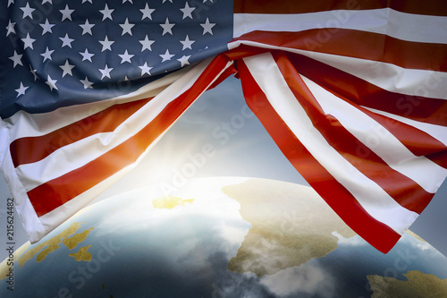 Foto Murales Earth planet with American flags