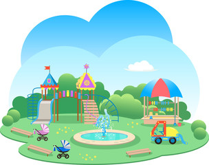 Playground kids with fountain cartoon illustration