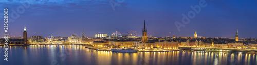 Foto Spatwand Stockholm Stockholm panorama night city skyline at Stockholm City Hall and Gamla Stan, Stockholm Sweden