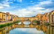 Quadro View of medieval stone bridge Ponte Vecchio over Arno river in Florence, Tuscany, Italy. Florence cityscape. Florence architecture and landmark.
