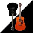 Leinwandbild Motiv Musical instrument - Black and tiger maple western acoustic guitar black and white