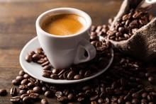 """Постер, картина, фотообои """"Cup of Coffee and Coffee Beans"""""""