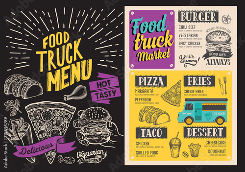 food truck menu design template with doodle hand drawn graphic