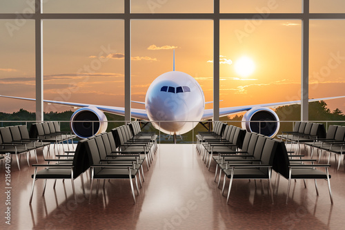 Fototapeta Empty airport terminal lounge and airplane in background at sunset. 3D rendered illustration.