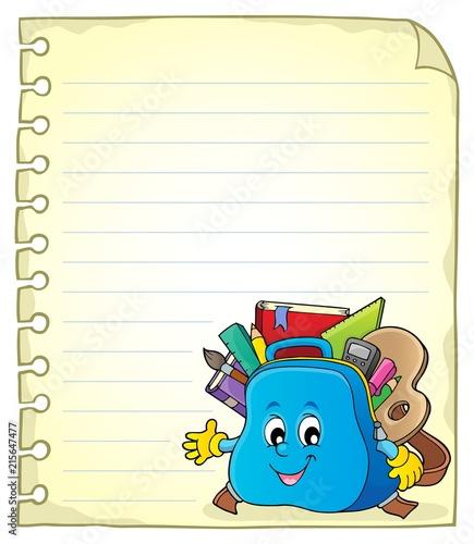 Canvas Voor kinderen Notebook page with schoolbag 2
