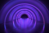 Fototapeta Fototapety do przedpokoju - Abstract tunnel or corridor with neon lights. 3D rendered illustration. © vchalup