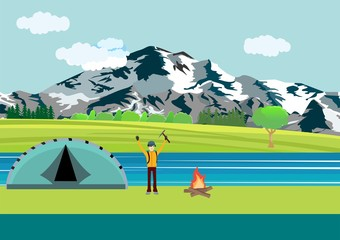 Eco, extreme tourizm theme vector illustration, tourist by the river, moutains, nature.