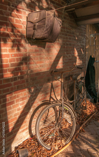 Foto Spatwand Fiets Bicycle near the wall, autumn, Eindhoven