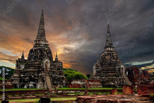 Plexiglas Thailand Wat Phra Si Sanphet temple in Ayutthaya Historical Park,a UNESCO world heritage site in Thailand.