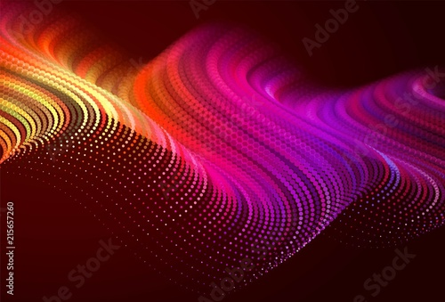 Fotobehang Bruin Abstract colorful digital landscape with flowing particles. Cyber or technology background. Red, pink, orange colors.
