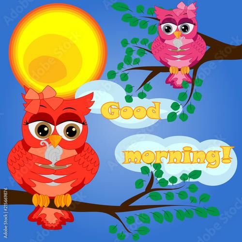 Fotobehang Uilen cartoon An unhappy, sleepy owl on a tree branch in the morning, the sun shines and smiles. Inscription Good morning. Morning, breakfast