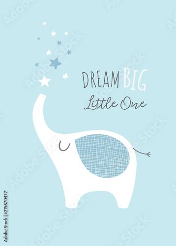 dream-big-little-one-z-uroczym-sloniem-i-gwiazdami-plakat-przedszkola-sztuka-do-druku-dla-dzieci-chlopiec-ilustracja-w-blekicie