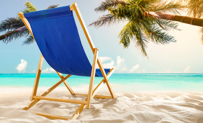 blue chair on beach and free space for your decoration.