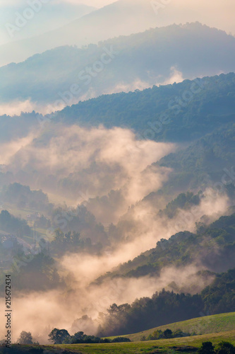 Beautiful foggy morning landscape from Spain
