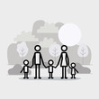 family members linear figures in the landscape vector illustration design