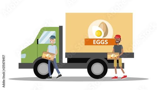 Fotobehang Auto Big truck with chicken eggs