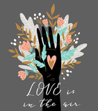 Woman hand isolated on the grey background with flowers and lettering - 'Love is in the air'. Valentine's Day card. Cute vector illustration in hand drawn style. - 215678667