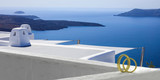 Wedding at Santorini, Greece. Wedding rings on whitewashed wall, volcano view background. 3d illustration