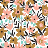 Trendy seamless floral ditsy pattern. Fabric design with simple flowers. Vector cute repeated pattern for baby fabric, wallpaper or wrap paper. - 215678896