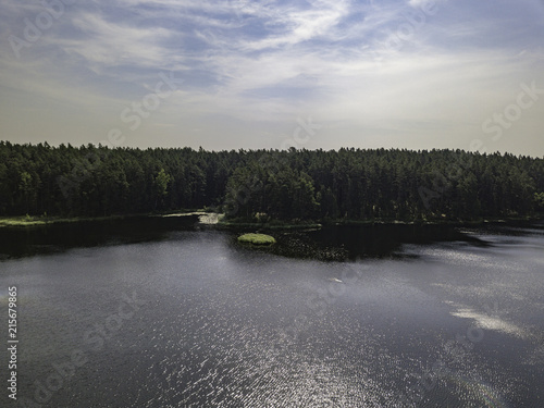 Foto Spatwand Donkergrijs Aerial view near forest lake, Estonia, Viitna