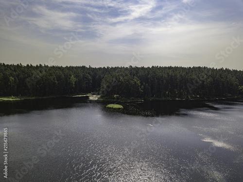 Fotobehang Donkergrijs Aerial view near forest lake, Estonia, Viitna