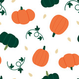 Vector seamless pattern background with cute cartoon pumpkins, squashes, vines with leaves and seeds for autumn, fall harvest design. - 215680002