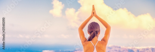 Plakat Yoga woman wellness sport and health concept banner panorama.