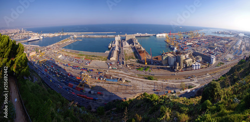 Foto Spatwand Barcelona port of Barcelona. Spain, sea view