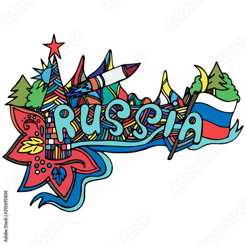 Foto Spatwand Graffiti Logo of the country Russia, doodle drawn by hand.Print for textiles