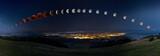 Fototapeta Space - Zaćmienie Księżyca z krwawym księżycem od jego wschodu do zachodu © Piotr Mitelski