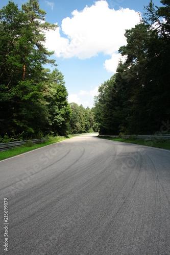 Fotobehang Weg in bos Kręta asfaltowa droga przez las, tor wyścigowy