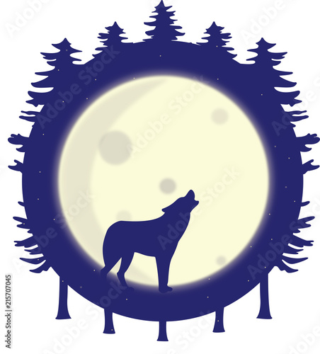 Fototapeta Wolf silhouette howling at the full moon in the forest