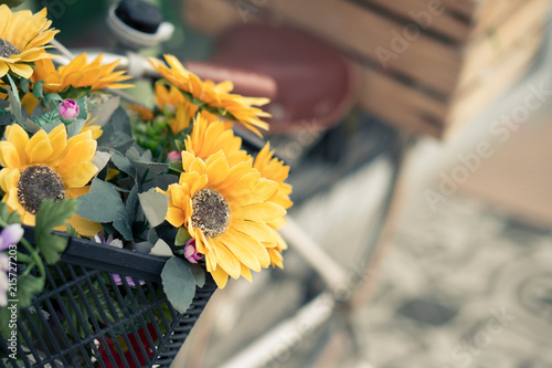 Foto Spatwand Fiets Bunch of Colorful Flowers in the wooden Basket of vintage bicycle, Pastel Valentine's day Background
