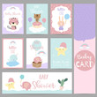 Pink blue violet pastel greeting card with skunk,star,bear,balloon,narwhal,elephant,cactus,cloud and basket
