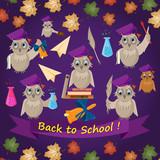 flat illustration-1_on school theme, bird owl holding various school subjects for learning